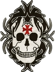 Skull with Red Iron Cross Motorcycle Jacket Patch