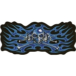 Skull Skeleton Blue Flames Motorcycle Jacket Patch