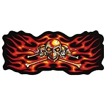 Skull Skeleton Orange Flames Motorcycle Jacket Patch