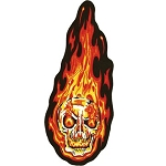 Flaming Skull Motorcycle Jacket Patch