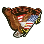 Eagle Live to Ride US Flag Motorcycle Jacket Patch