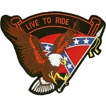 Eagle Live to Ride Confederate Flag Motorcycle Jacket Patch