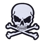 Small Gray Skull Crossbones Motorcycle Jacket Patch