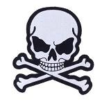 Small Gray Skull Crossbones Motorcycle Jacket Patch
