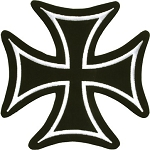 Small Black/White Iron Cross Motorcycle Jacket Patch