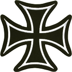 Black and White Iron Cross Motorcycle Jacket Patch