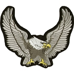 Silver Wingspan Eagle Motorcycle Jacket Patch