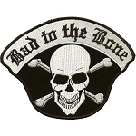 Bad to the Bone Skull Motorcycle Jacket Patch
