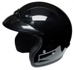 Black 3/4 Shell Open Face Motorcycle Racing Helmet