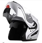 DOT Silver Dual Visor Modular Motorcycle Helmet