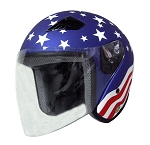DOT Stars & Stripes Open Face Motorcycle Helmet