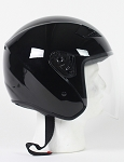 Black DOT Open Face Motorcycle Helmet with Flip Shield