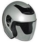 DOT Silver Open Face Motorcycle Helmet with Flip Shield