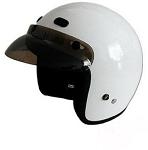 DOT White 3/4 Open Face Motorcycle Helmet with Visor