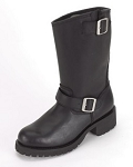 Womens Leather Biker Boots With Double Buckle