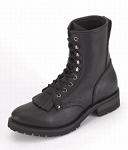 Women's Lace-Up Leather Motorcycle Boots with Tassels