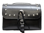 Leather Motorcycle Sissy Bar Bag with Studs