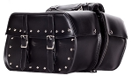 PVC Zip-Off Motorcycle Saddlebags With Studs