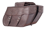 Brown Zip-Off Throw-Over Motorcycle Saddlebags
