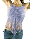 Womens Medium Length Purple Halter Top With Studs