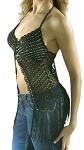 Womens Long Black Halter Top With Studs