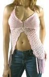 Womens Long Pink Halter Top With Studs