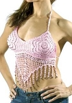 Womens Pink Halter Top With Studs