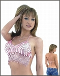 Womens Stylish Pink Halter Top With Lace