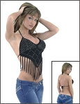 Womens Black Halter Top With Studs and Tassels