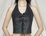 Womens Leather Halter Top Vest With Laces