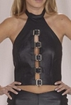 Womens Leather Halter Top With Front Buckles