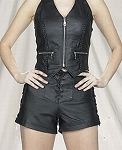 Womens Back Zipper Leather Shorts With Front & Side Laces