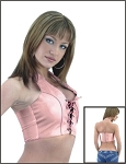 Womens Pink Leather Halter Top With Front Laces