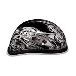 Silver Flames & Skulls Novelty Motorcycle Helmet