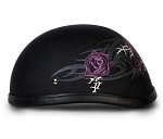 Women's Purple Rose Novelty Motorcycle Helmet