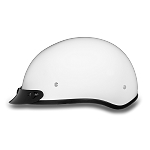 DOT White Motorcycle Half Helmet with Visor