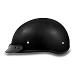 DOT Leather Covered Motorcycle Half Helmet with Visor