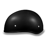DOT Leather Covered Motorcycle Half Helmet