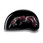 DOT Barbed Wire Roses Motorcycle Half Helmet