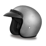 DOT Metallic Silver 3/4 Open Face Motorcycle Helmet