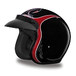 DOT Red Striped 3/4 Open Face Motorcycle Helmet