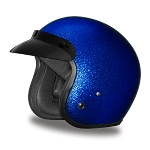 DOT Blue Metal Flake 3/4 Open Face Motorcycle Helmet