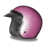 DOT Pink Metal Flake 3/4 Open Face Motorcycle Helmet