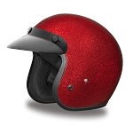 DOT Red Metal Flake 3/4 Open Face Motorcycle Helmet