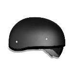 DOT Dull Black Motorcycle Half Helmet with Sun Shield
