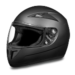 DOT Vented Flat Black Full Face Motorcycle Helmet