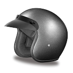 DOT Metallic Gray 3/4 Open Face Motorcycle Helmet