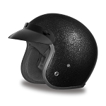 DOT Black Metal Flake 3/4 Open Face Motorcycle Helmet