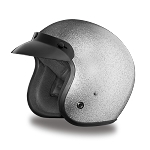 DOT Silver Metal Flake 3/4 Open Face Motorcycle Helmet