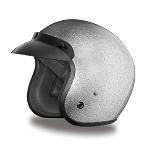 DOT Silver Metal Flake 3/4 Open Face Motorcycle Helmet